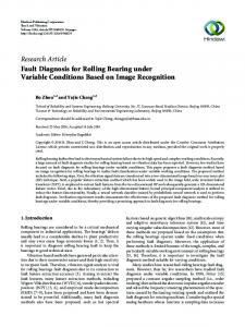 Fault Diagnosis for Rolling Bearing under Variable Conditions Based ...