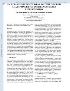 FAULT DIAGNOSIS IN NONLINEAR SYSTEMS THROUGH AN ...