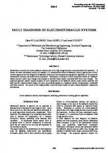 fault diagnosis of electrohydraulic systems - CiteSeerX