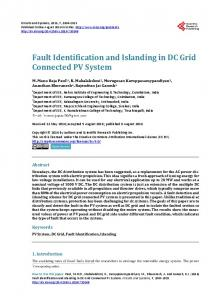 Fault Identification and Islanding in DC Grid Connected PV System