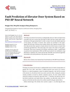 Fault Prediction of Elevator Door System Based on PSO-BP Neural ...