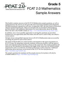 FCAT 2.0 2011 Grade 5 Mathematics Sample Answers