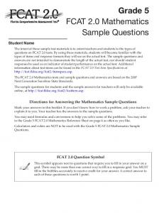 FCAT 2.0 Grade 5 Mathematics Sample Questions