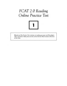 FCAT 2.0 Reading Online Practice Test 1