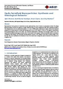 Fe3O4 Ferrofluid Nanoparticles: Synthesis and Rheological Behavior