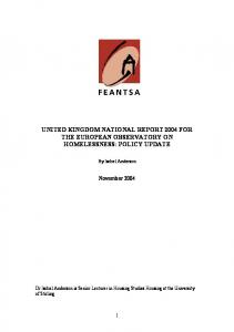 feantsa: european observatory on homelessness