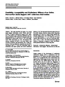 Feasibility, Acceptability and Preliminary Efficacy of an Online Peer-to ...