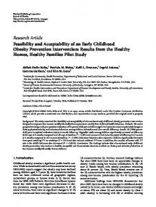 Feasibility and Acceptability of an Early Childhood Obesity Prevention ...