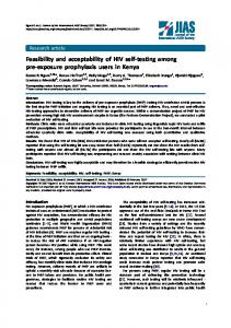 Feasibility and acceptability of HIV self-testing among pre-exposure