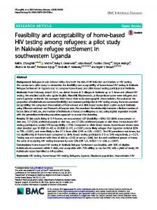 Feasibility and acceptability of home-based HIV testing among refugees