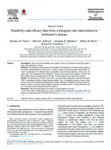 Feasibility and efficacy data from a ketogenic diet intervention in