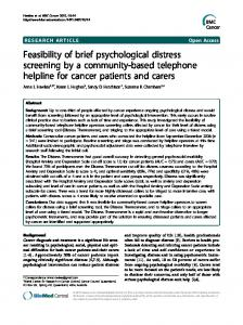Feasibility of brief psychological distress screening by ... - BioMedSearch