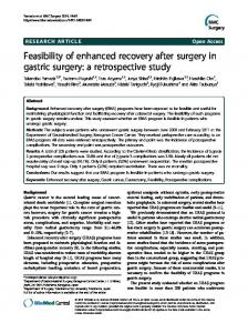 Feasibility of enhanced recovery after surgery in gastric surgery: a ...