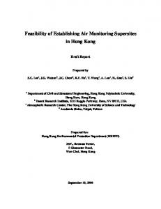 Feasibility of Establishing Air Monitoring Supersites in ...