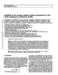 Feasibility of low energy radiative capture experiments at the LUNA ...