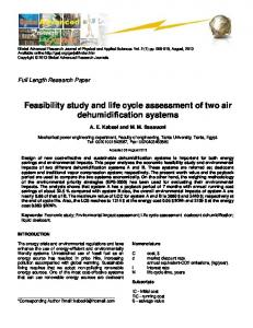 Feasibility study and life cycle assessment of two air dehumidification ...