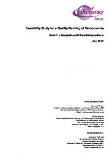 Feasibility Study for a Quality Ranking of Democracies - Democracy ...