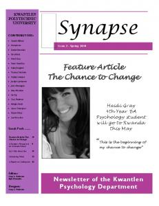 Feature Article The Chance to Change - Kwantlen Polytechnic University