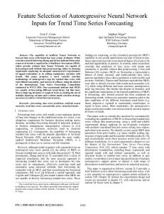 Feature Selection of Autoregressive Neural Network ... - IEEE Xplore