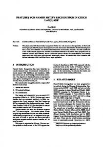 features for named entity recognition in czech ... - Semantic Scholar
