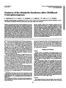 Features of the Metabolic Syndrome after Childhood ...