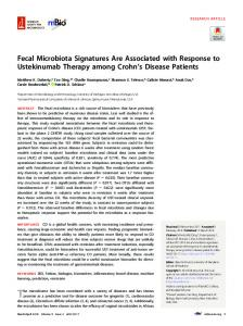 Fecal Microbiota Signatures Are Associated with