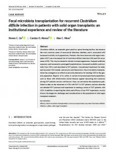 Fecal microbiota transplantation for recurrent