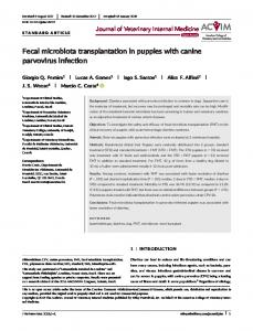 Fecal microbiota transplantation in puppies with ...