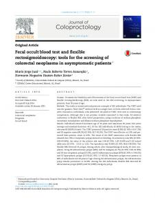 Fecal occult blood test and flexible rectosigmoidoscopy: tools ... - SciELO