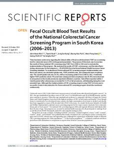 Fecal Occult Blood Test Results of the National ...