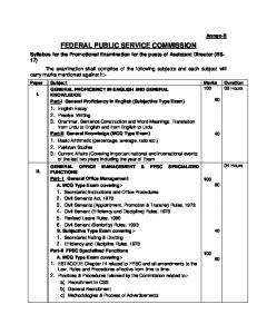 FEDERAL PUBLIC SERVICE COMMISSION