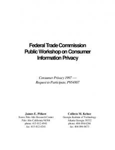 Federal Trade Commission Public Workshop on ... - SMARTech