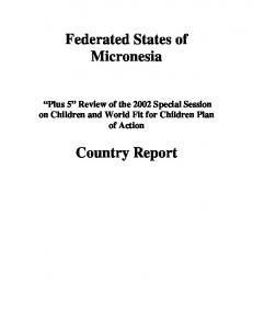 Federated States of Micronesia Country Report - Unicef
