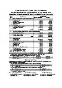 FEE STRUCTURE OF IIT (BHU)