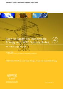 Feed-in Tariffs for Renewable Energy and WTO Subsidy Rules