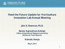 Feed the Future Update for Horticulture Innovation Lab Annual ...