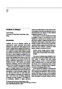 Feedback as dialogue. Encyclopedia of Educational Philosophy and ...