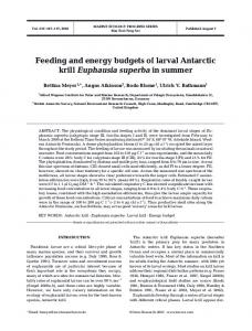 Feeding and energy budgets of larval Antarctic krill Euphausia ...