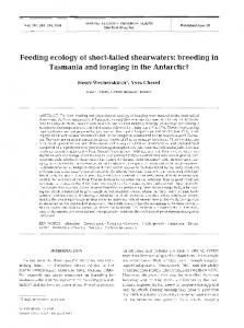 Feeding ecology of short-tailed shearwaters - Inter Research