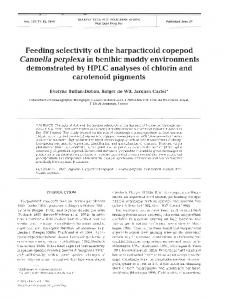 Feeding selectivity of the harpacticoid copepod ... - Inter Research