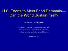 Feeding the world -- Dr Robert Thompson
