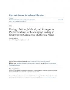 Feelings: Actions, Methods, and Strategies to Prepare ... - CORE Scholar