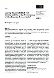 Felt thinking and the social. Commentary of John ... - SAGE Journals