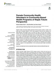 Female Community Health Volunteers in ... - Semantic Scholar