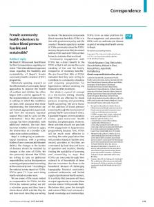 Female community health volunteers to reduce blood ... - The Lancet