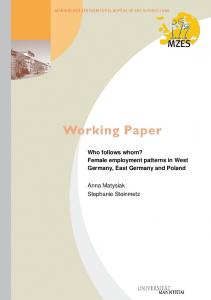 Female employment patterns in West Germany, East Germany and ...