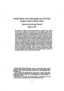 Female Labour Force Participation and the Child Support Grant in ...