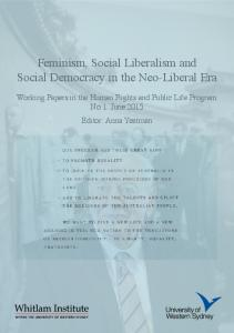 Feminism, Social Liberalism and Social Democracy ... - Whitlam Institute