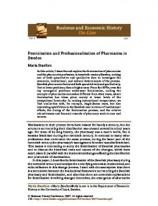 Feminization and Professionalization of Pharmacies in Sweden