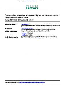 Fenestration: a window of opportunity for carnivorous plants